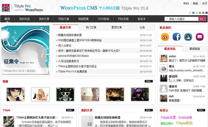 国人wordpress cms主题 - TStyle