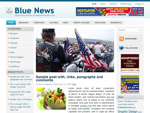 蓝白wordpress主题-Blue News