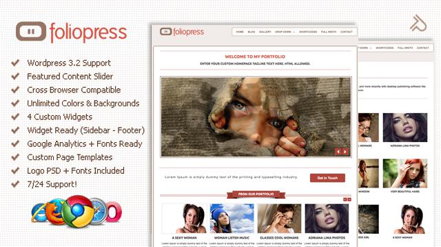 清新简洁的wordpress主题 - FolioPress