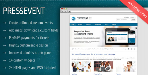 ThemeForest wordpress主题 – PressEvent