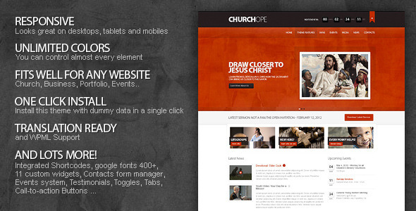 ThemeForest wordpress企业主题 - ChurcHope