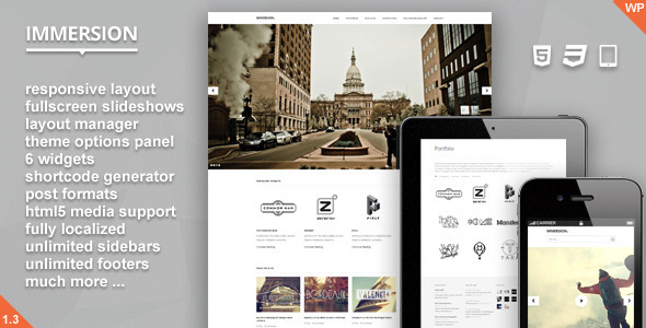 ThemeForest wordpress企业主题 – Immersion