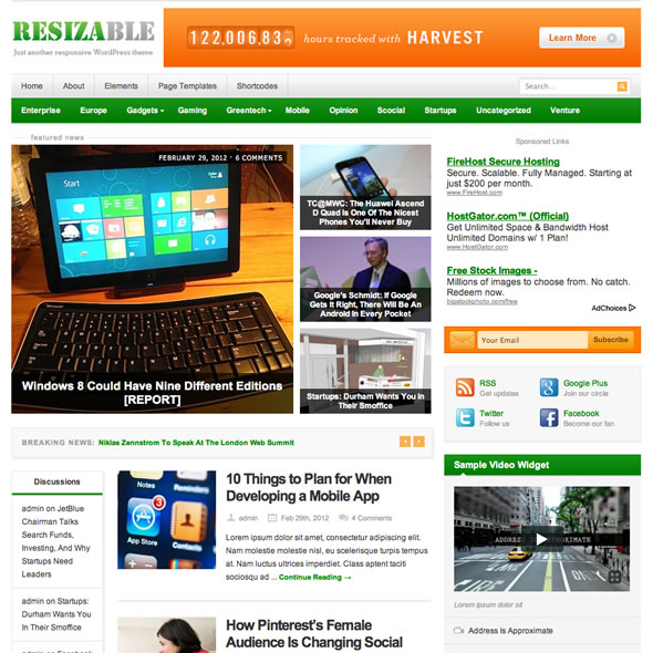ThemeJunkie wordpress cms主题 - Resizable