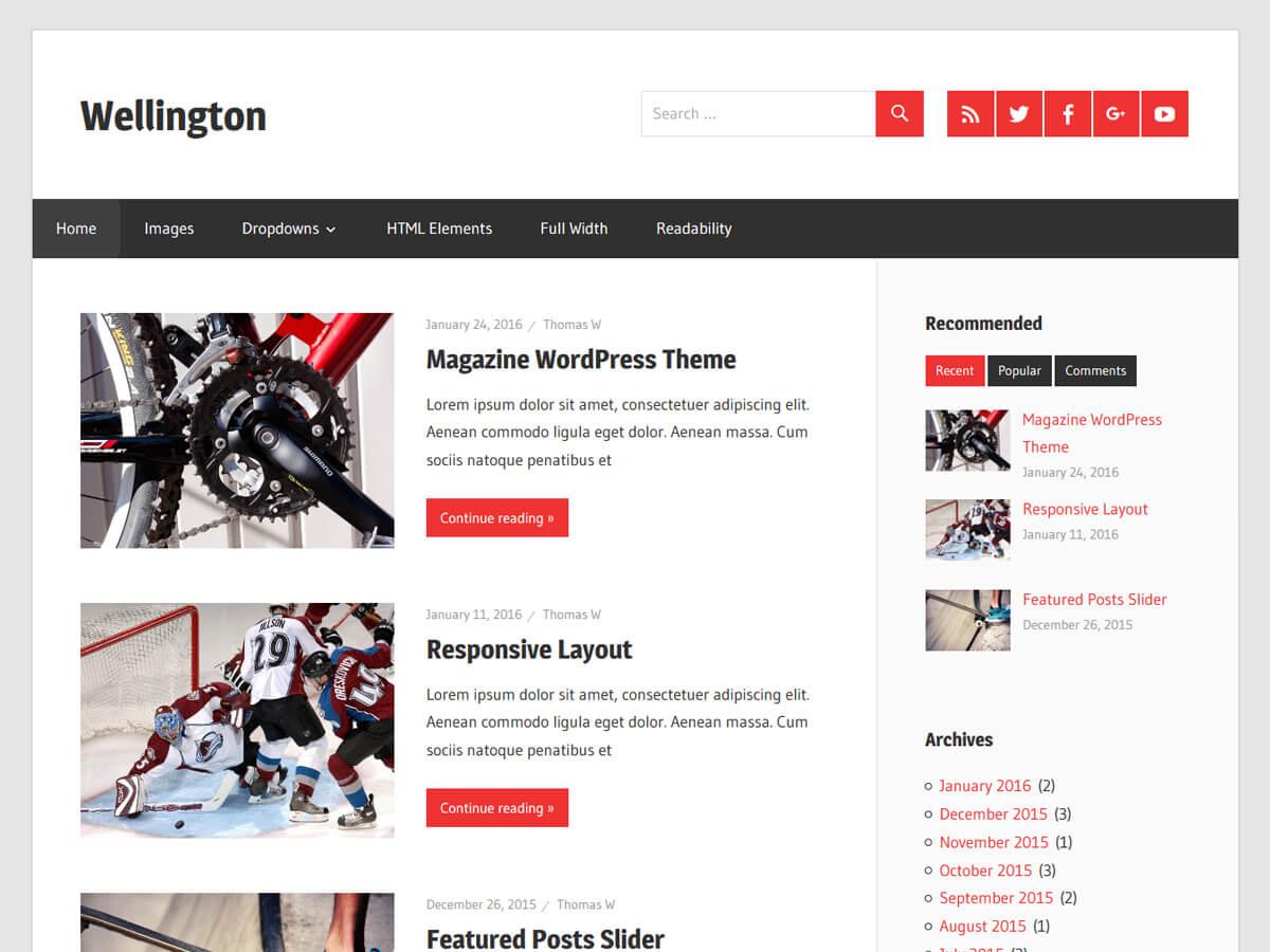 Wellington 响应式设计 杂志风格WordPress主题